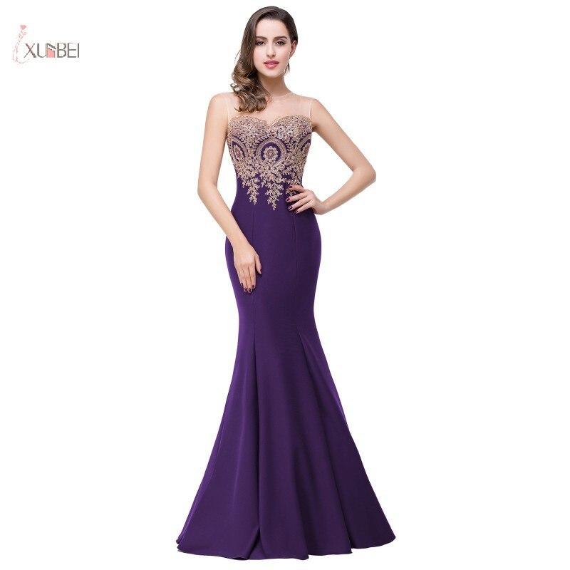 2019 violet longues robes de demoiselle d'honneur élégant encolure dégagée sans manches Applique sirène robe de mariée robe demoiselle d'honneur