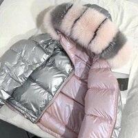 Большой натуральный Лисий Мех 2018 зимняя куртка Для женщин вниз парки пальто с капюшоном белая утка вниз куртка Двусторонняя Куртка из искус