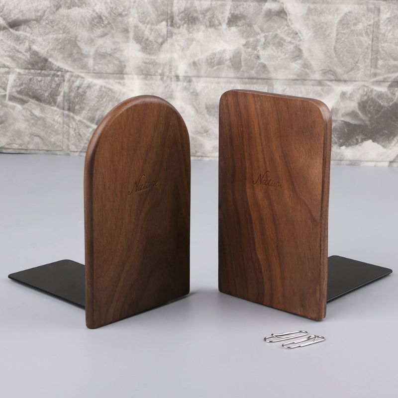 Classic Walnut Wood Desktop holder Bookends Book Ends Stand Shelf for Office Home suppliers