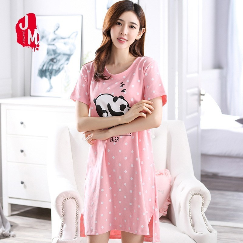 Ladies Summer Sleepwear Women Cotton Nightgown Short Nightwear O-neck Nightdress Sleepwear Cotton Soft Nightgown Plus Size M-XXL