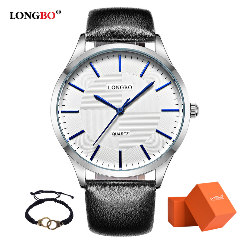 2017 LONGBO Luxury Quartz Watch Casual Fashion Leather Watch Men Lovers Couple Watches