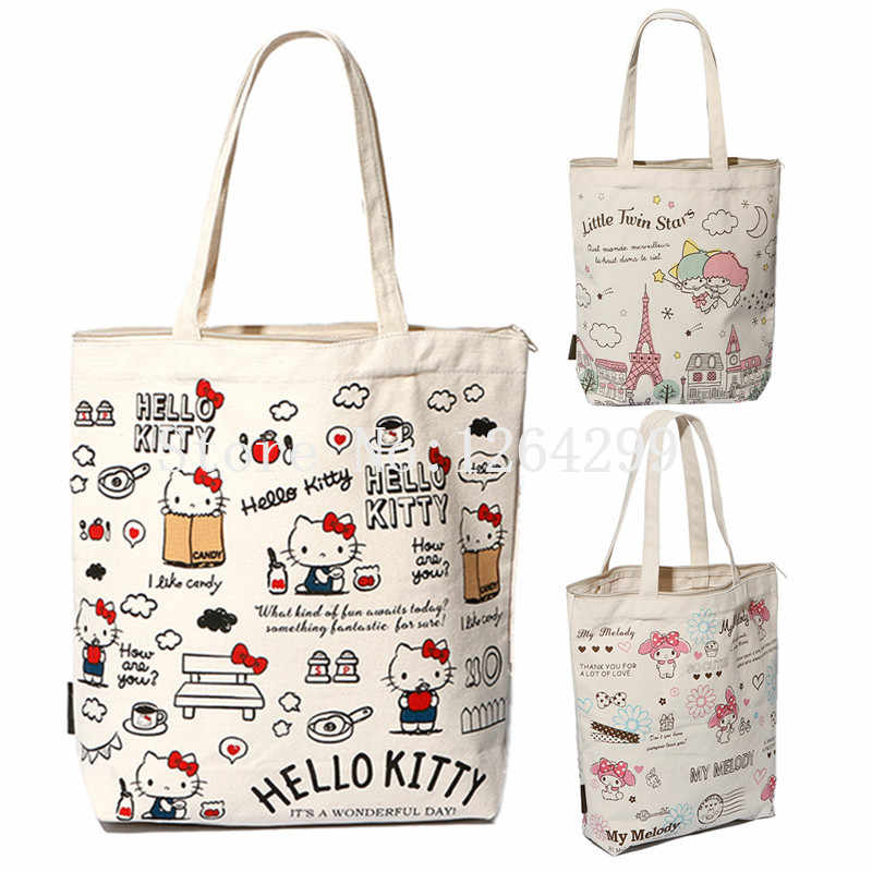 9bd1a9d6160d Hello Kitty My Melody Little Twin Stars Girls Woman Canvas Zipper Shoulder  Bags Handbags Shopping Bag