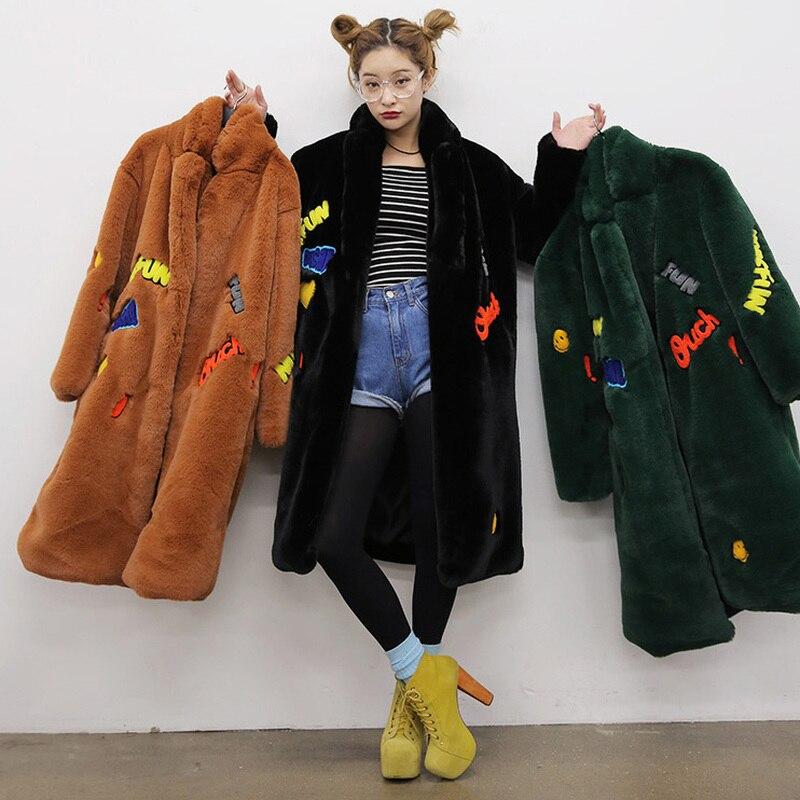 100% QualitäT Neue Mode 2018 Lange Warme Winter Faux Pelz Mantel Damen Lange ärmel Armee Grün Gelb Stickerei Brief Outwear Weiblichen Mantel Wohltuend FüR Das Sperma