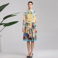 P 2019 Party High Quality Fashion Designer Spring Bohemian Dress Dress Lapel + Belt Vacation Casual Pleated Flower Print Dress