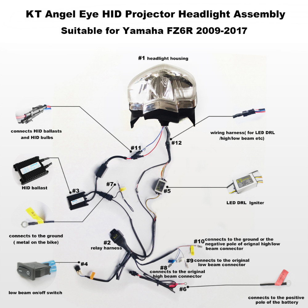 KT Headlight for Yamaha FZ6R 2009 2017 LED Angel Eye Red Demon Eye Motorcycle HID Projector kt headlight for yamaha fz6r 2009 2017 led angel eye red demon eye  at eliteediting.co