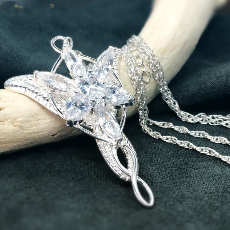 Princess Arwen Evenstar Pendant Necklaces for Women Arwen Crystal Necklace Hobbit 925 Silver Wedding Jewelry Gift