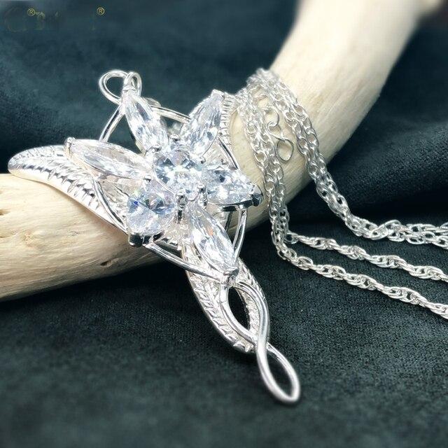 Princesa arwen evenstar pingente colares para mulher arwen cristal colar hobbit s925 sliver casamento jóias presente