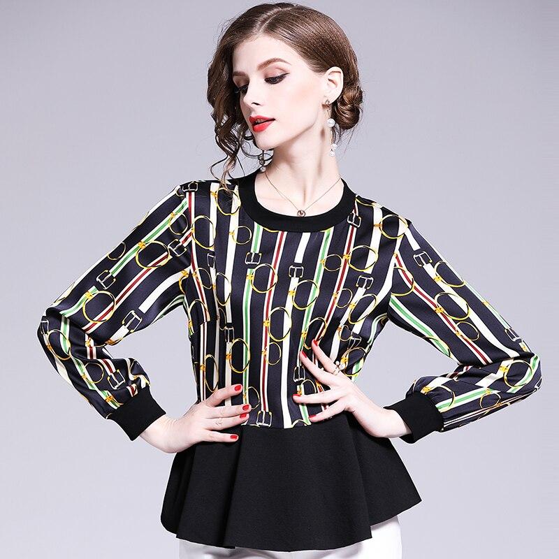 New Italy Style Long-sleeved Brand Shirt Women Fashion Casual Shirts Girl Spring Stitching Fashion Shirt Ladies Chemise Overhemd