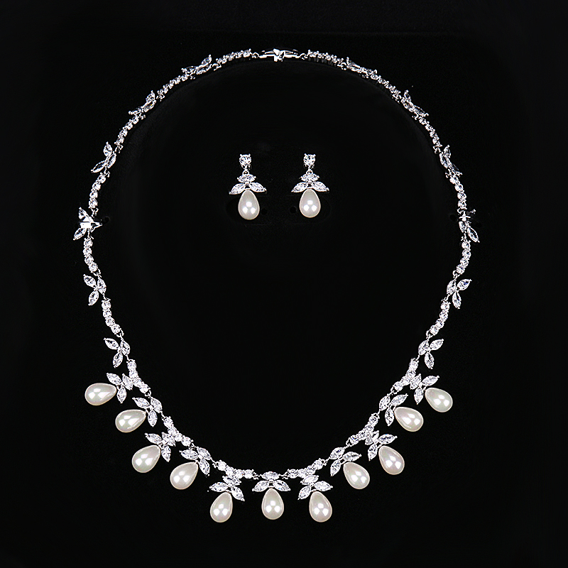 HIBRIDE font b Luxury b font Design Fashion Pearl Pendant Earrings Necklace Austrian Crystal White Gold