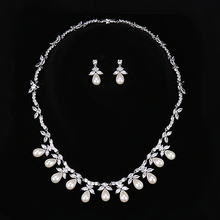 HIBRIDE Luxury Design Fashion Pearl Pendant Earrings/Necklace Austrian Crystal White Gold Color Women Bridal Jewelry Sets N-165