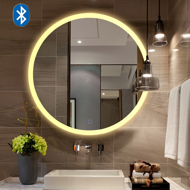 Bluetooth Music Wall Mirror LED Bathroom Makeup Mirror Intelligence Display HD illuminated bathroom Mirrors moisture-proof Board