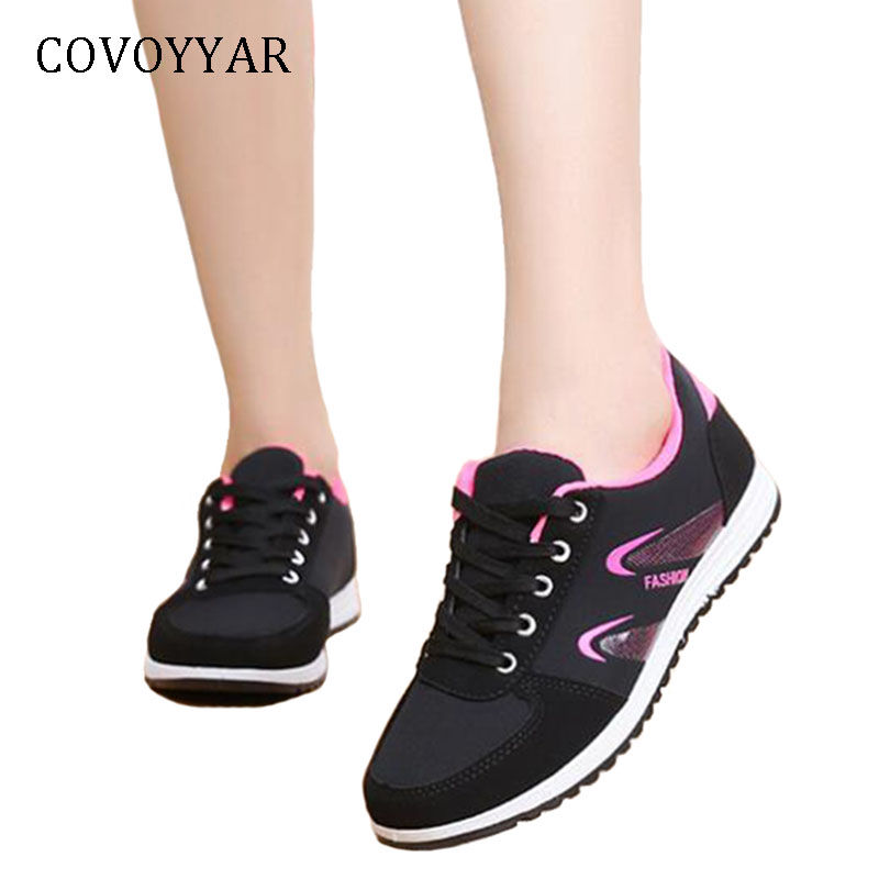 COVOYYAR 2019 Comfort Women Sneakers Fashion Lace Up Flat Casual Shoes Spring Autumn Light Shoes For Trainers WSN733