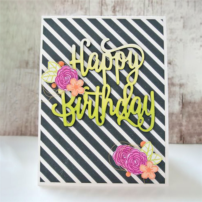 gjcrafts 34x60mm new arrival happy birthday letter metal cutting dies scrapbooking embossing folder album decoration diy craft in cutting dies from home
