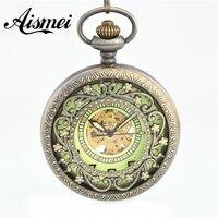 20 stks/partij Steampunk Sieraden brons Platte Ronde Hollow Bloem Hanger Mechanische Pocket Horloges met Kettingen groothandel