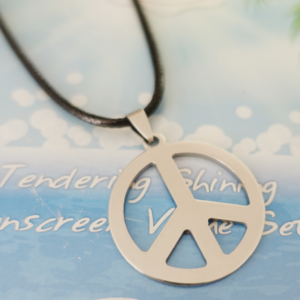 Aliexpress buy hippie stainless steel jewelry silver peace hippie stainless steel jewelry silver peace sign pendant necklace for men with black chain mozeypictures Image collections