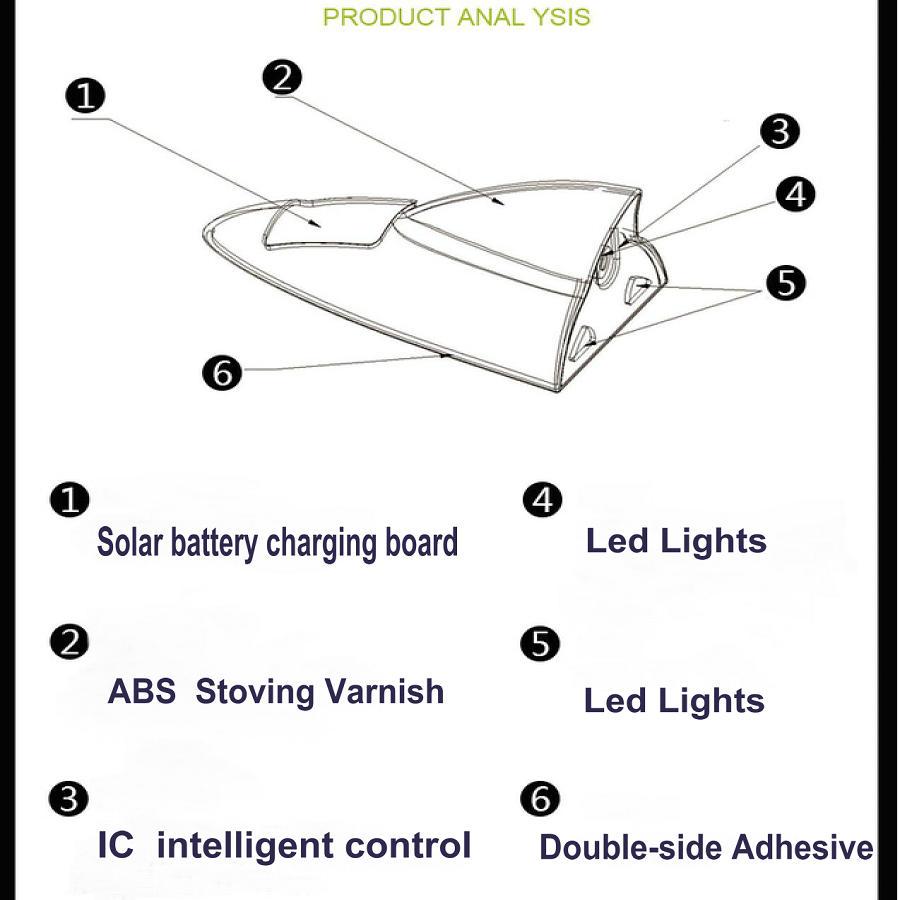 Solar Universal Car Shark Fin Antenna Radio Antenna Dekorativ Shark - Exteriör biltillbehör - Foto 6
