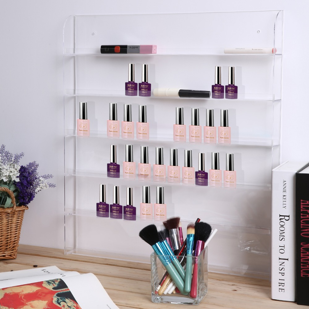Acrylic 6 Layer Nail Polish Organizer Wall Display Rack Nail Polish Bottle Storage Holder Showing Shelf (fit 90 to 126 bottles) bfq262a to 126