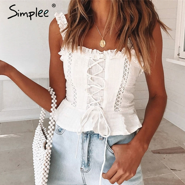 Simplee Sexy lace cotton women tank tops Strap ruffle white pleated crop top female Summer hollow out lace up camisole tops 2019