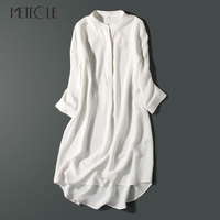 Толщиной 100% крепдешин Шелковый платье рубашка Повседневное Асимметричный три четверти рукав Для женщин миди Платья для женщин Весна, лето,