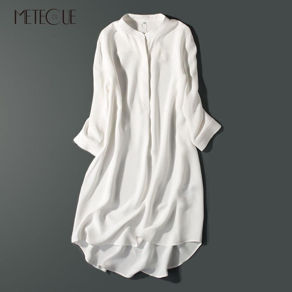 Thick 100% Crepe De Chine Silk Shirt Dress Casual Asymmetrical Three Quarter Sleeve Women Midi Dresses Spring Summer Autumn 2018