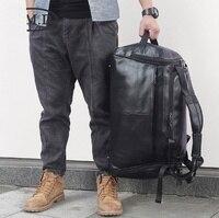 18 Мужская Черная бычья кожа Дорожная сумка мужская деловая большая возможность для ноутбука Сумка тоут выходные сумки Мужская брендовая с