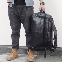 18 Man Black Cow  Leather Travel Duffle Bag Male Business Large Capability Laptop Tote Weekend Bags Brand Shoulder