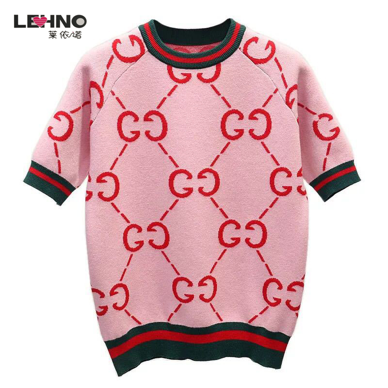 Short-sleeved Female 2019 New Double G Red Sweater Clothing Bottoming Fashion Sweater