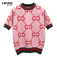 Short sleeved Female 2019 New Double G Red Sweater Clothing Bottoming fashion Sweater