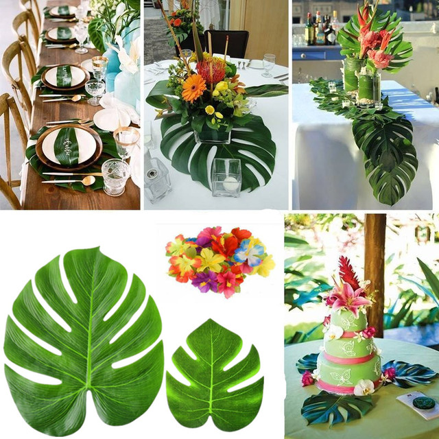 12pcs Artificial Turtle Leaves Silk Flower Plants Diy Wedding Party