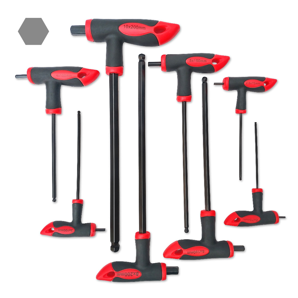 Julydream 8PC Hex Key Wrench T Handle Ball Head Wrench 2mm 10mm CR V For Auto Bike Motorycle Reapair Tool Set in Wrench from Tools