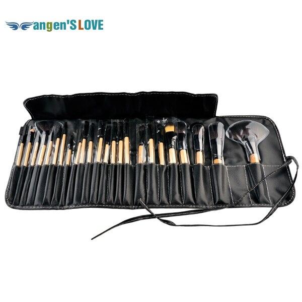 Professional Makeup Tool Kits 24PCS Wood Brushes Makeup Bag Pink & Black Colour Full Makeup Kit