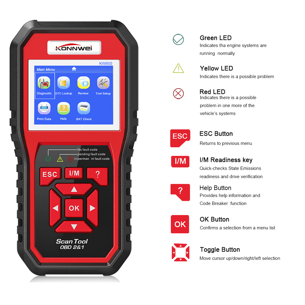 Image 2 - KONNWEI KW850 OBD2 ODBII Car Diagnostic Scanner Multifunction Auto Diagnostic Car Scanner Universal OBD Engine Code Reader-in Code Readers & Scan Tools from Automobiles & Motorcycles
