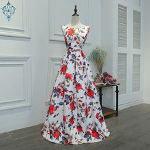 Ameision 2019 Summer New Fashion Evening Dress Floral Print O-neck Sleeveless Back Lace Up Prom Party Dresses Haute Couture недорго, оригинальная цена