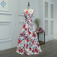 Ameision 2019 Summer New Fashion Evening Dress Floral Print O neck Sleeveless Back Lace Up Prom Party Dresses Haute Couture