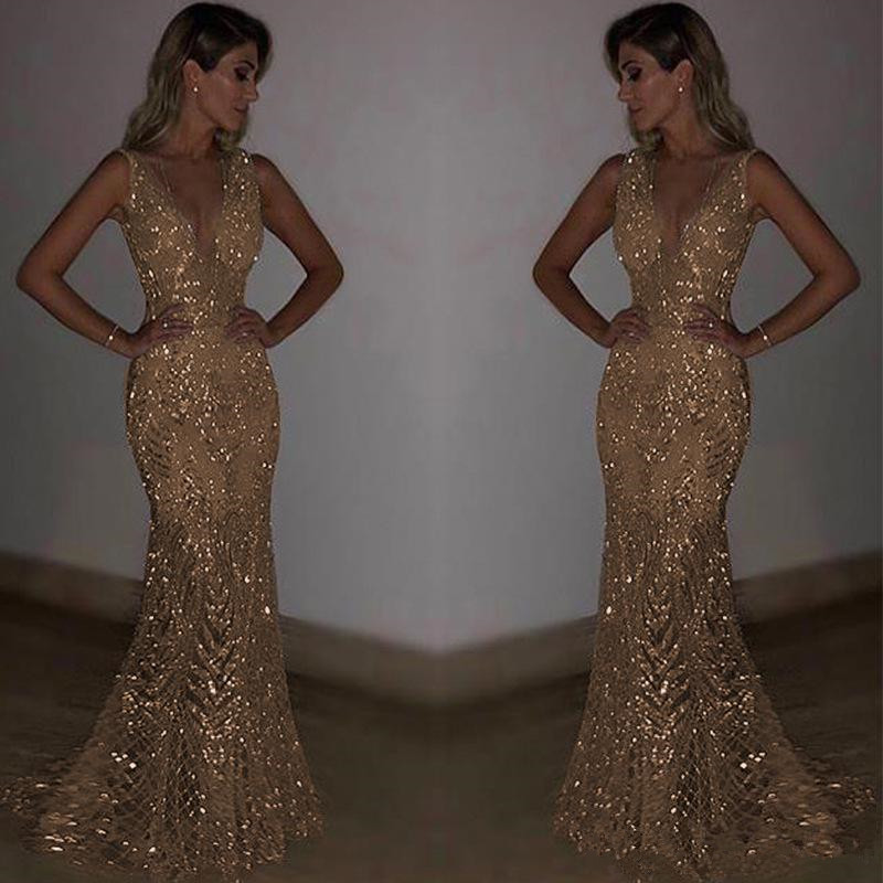 Bling Sequined Sequins Mermaid Prom Dresses 2019 Deep V Neck Sexy Long Party Gowns Special Occasion Cocktail Gowns
