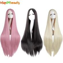 MapofBeauty longue ligne droite Cosplay perruques pour femmes noir blanc brun blond rose partie résistant à la chaleur synthétique faux cheveux