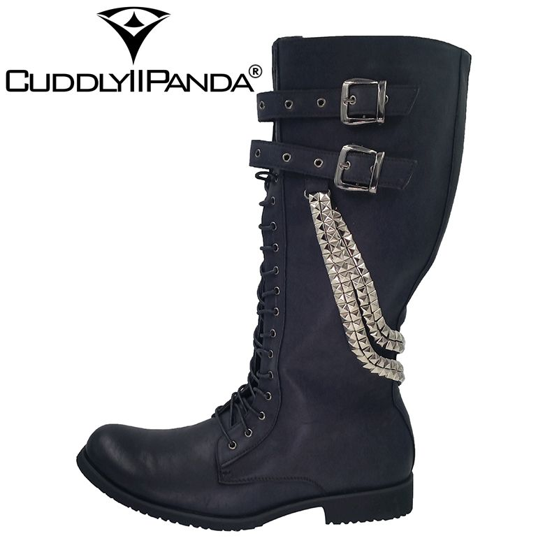 CuddlyIIPanda 2017 Punk Boots New Arrival Fashion Metal Decoration Winter Round Toe Martin Boots Male Winter