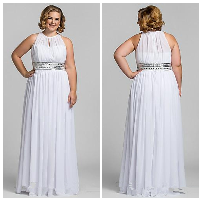 Plus size a line formal chiffon white evening prom dresses for Wedding dresses for larger figures