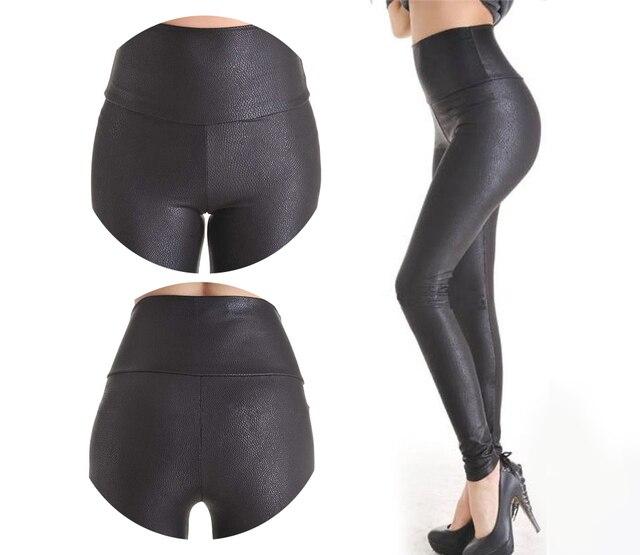 2018 New Sale Fashion Serpentine Sexy Leggings Womens Leggins Stretch High Waist quality Faux Leather Pants Plus Size YAK0010 1