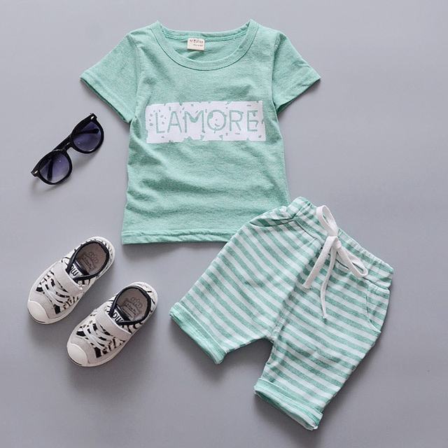 2016 Summer Fashion Baby Clothes Set Casual Cotton Baby Suit Short Sleeve Letter T-shirt+Pants Newborn Infant Clothing