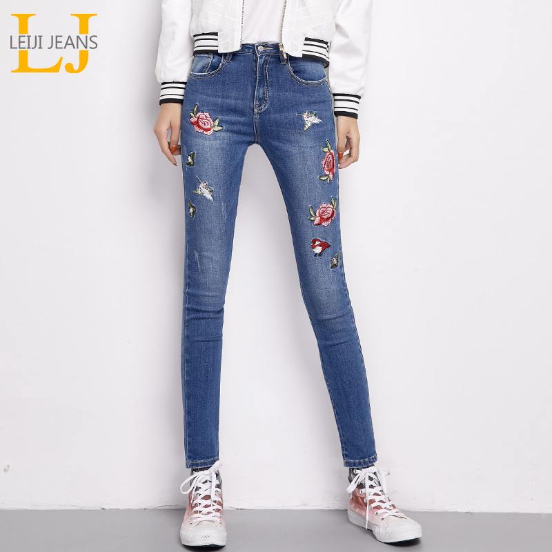 LEIJIJEANS 2018 Hot Sale Autumn Plus Size Rose Embroidery Bleached Mid Waist Full Length Women Stretch Skinny Pencil <font><b>Jeans</b></font>