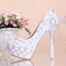 Fashion White Flower Pearl Crystal Wedding Shoes Rhinestone Super High Heel Bridal Dress Shoes Round Toe Wedding Ceremony Pumps