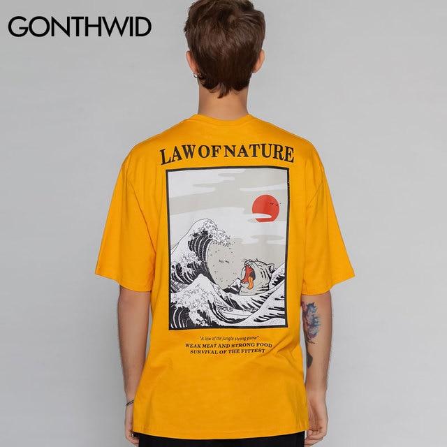 GONTHWID Männer Japanischen Stickerei Ukiyo Katze Welle Gedruckt T Shirts Street 2019 Harajuku Hip Hop Casual Tops Tees Männliche T-shirts