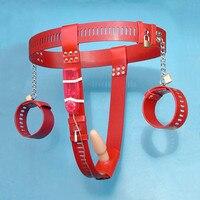 Tipo T pu esposas cinturón de castidad femenina vibrador plug Anal con bloqueo sexo bdsm bondage juguetes para adultos juguetes sexuales para parejas