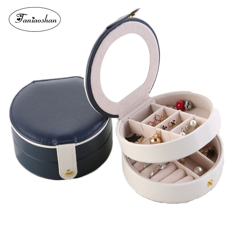 Popular Double-deck Jewelry Box Portable Leather Jewellery Box For Woman 4 Colors Newest Earrings Storage Casket Gift Box