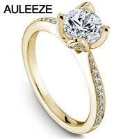 Цветочный Дизайн Лаборатория Grown Алмаз Обручальные Кольца 1CT Moissanites Обручальное Кольцо Solid 14 К Желтого Золота Кольца День святого валентина
