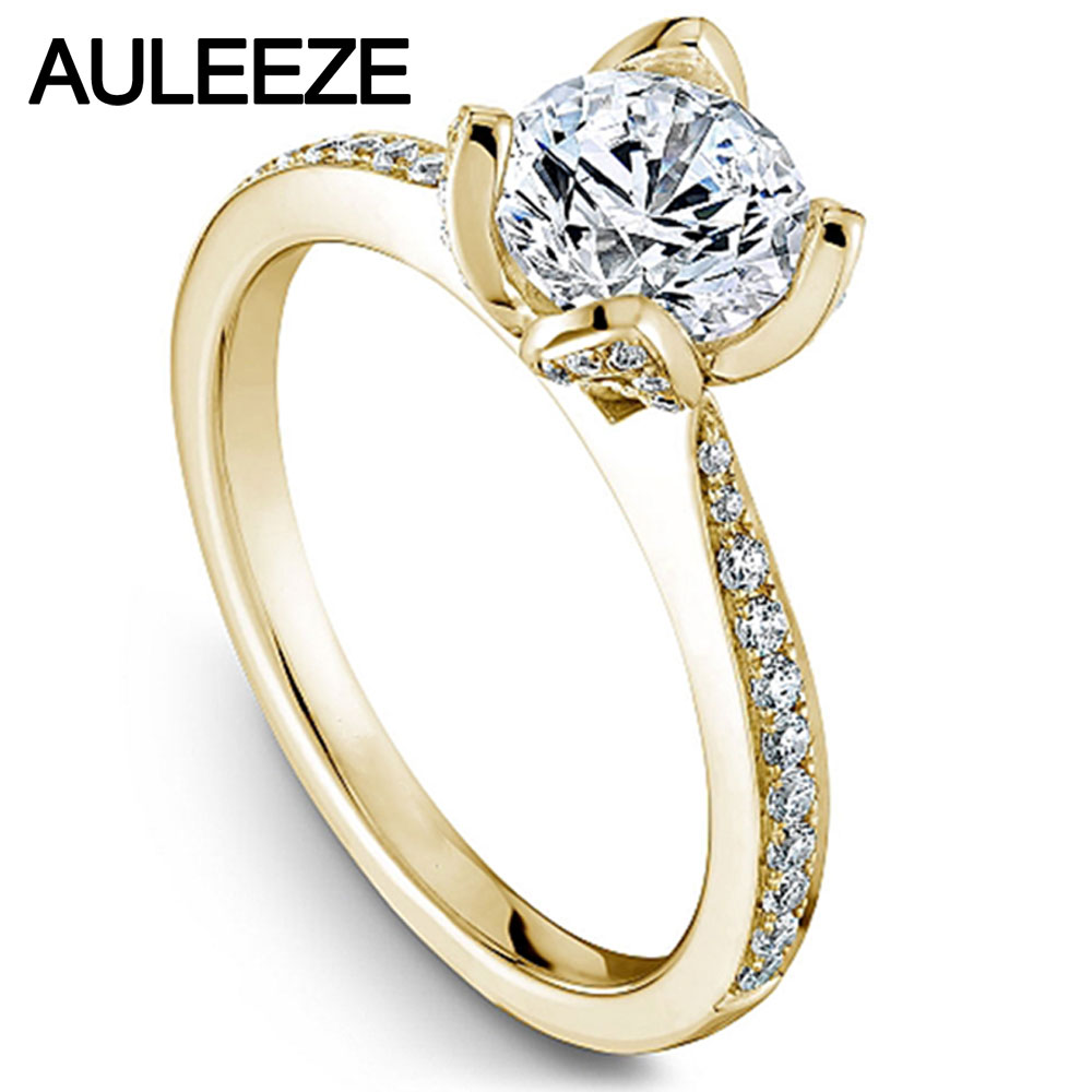 Flower Design Lab Grown Diamond Wedding Rings 1CT Moissanites Engagement Ring Solid 14K Yellow Gold Rings Valentines Day GiftsFlower Design Lab Grown Diamond Wedding Rings 1CT Moissanites Engagement Ring Solid 14K Yellow Gold Rings Valentines Day Gifts