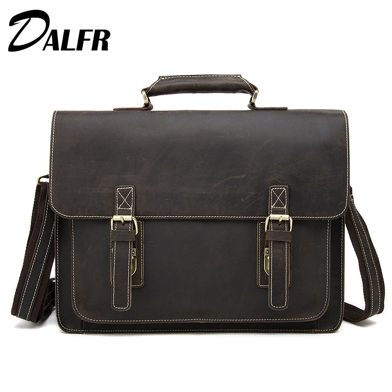 DALFR Crazy Horse Leather Handbags 18 Inch Solid Crossbody Messenger Bags for Men Vintage Leather Briefcase Shoulder Bags