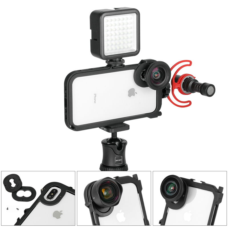 ULANZI Video Camera Filmmaking Rig With 17mm/ Moment Lens Mount For IPhone X Xs /Xs Max,Phonegraphy Case Video Cage Tripod Mount