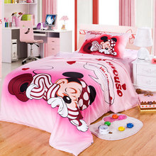 fad09c990a DISNEY Marca 100% de Algodão Dos Desenhos Animados de Mickey Mouse Capa de  Edredon Rosa Queen Size Para Crianças roupa de Cama F..